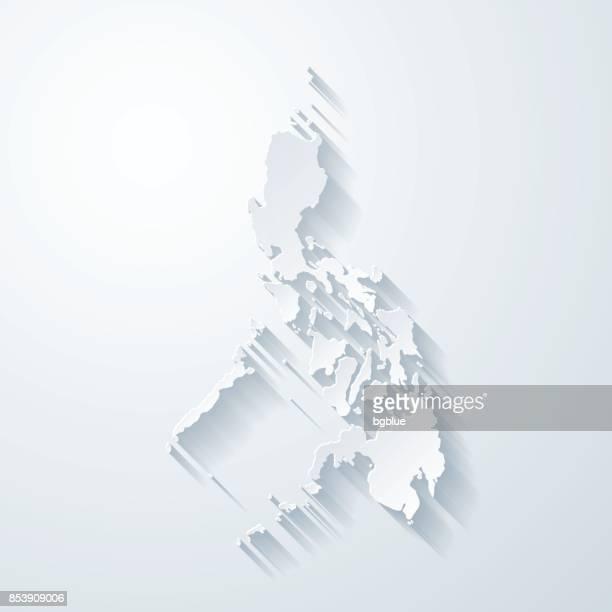 Philippinen Karte mit Papier geschnitten Wirkung auf leeren Hintergrund