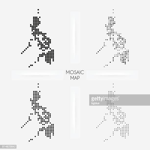 Philippinen-Karten-Mosaik squarred und Pünktchen