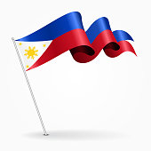 Philippines pin wavy flag. Vector illustration.