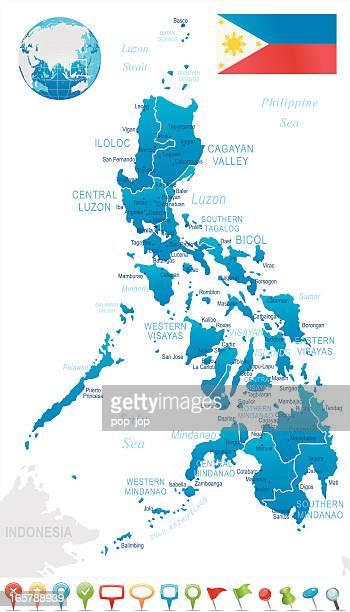 stockillustraties, clipart, cartoons en iconen met philippines - regions, cities and navigation icons - filipijnen