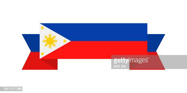 Philippinen - Band Vektor flache Flaggensymbol