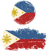 Philippines round and square grunge flags. Vector illustration