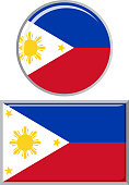 Philippines round and square icon flag. Vector illustration