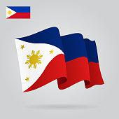 Philippines waving Flag. Vector illustration.