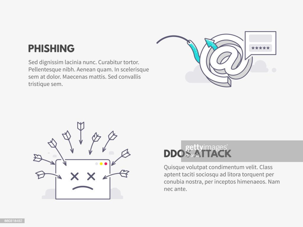 Phishing and DDOS attack. Cyber security concept.