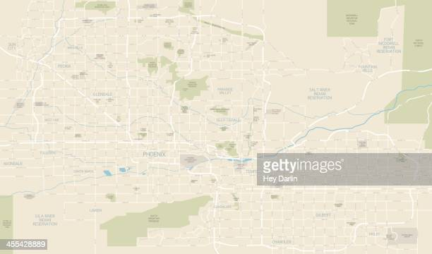 phoenix area map - tempo stock illustrations