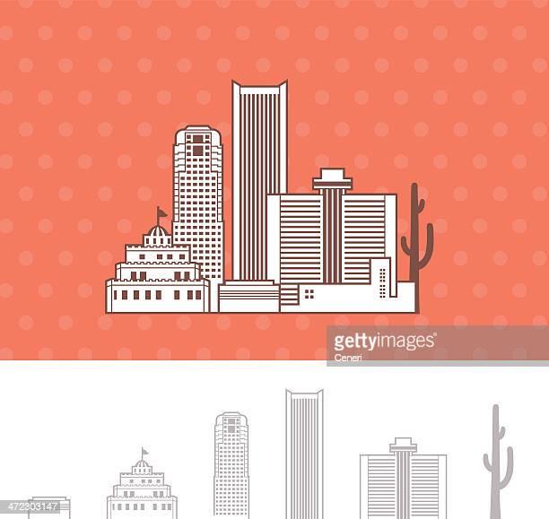 phoenix, arizona skyline cityscape - arizona stock illustrations
