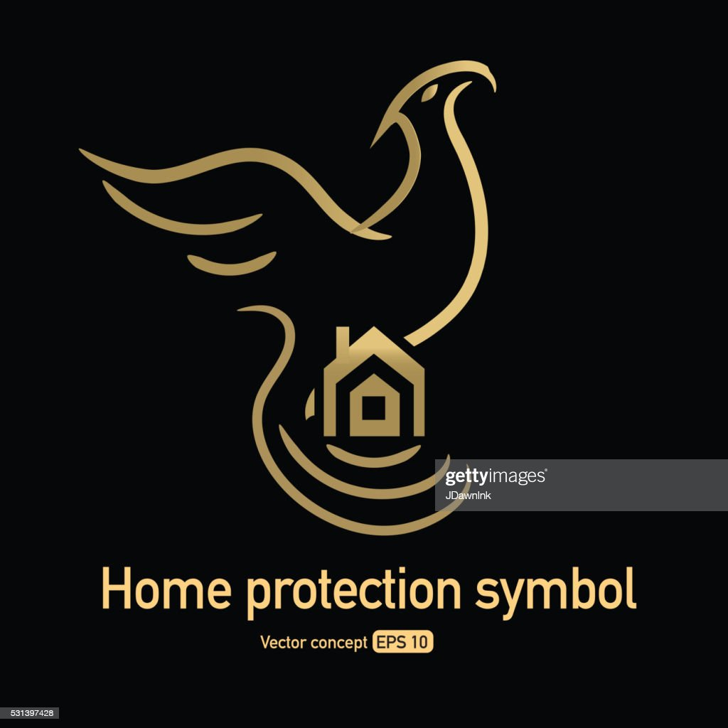 Phoenix Bird Protecting Home Symbol Vector Art Getty Images