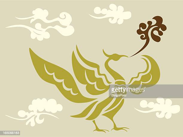phoenix & cloud - phoenix mythical bird stock illustrations, clip art, cartoons, & icons