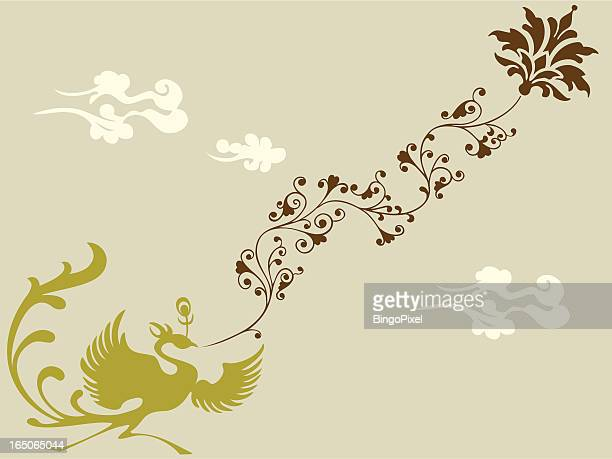 phoenix & plant - phoenix mythical bird stock illustrations, clip art, cartoons, & icons