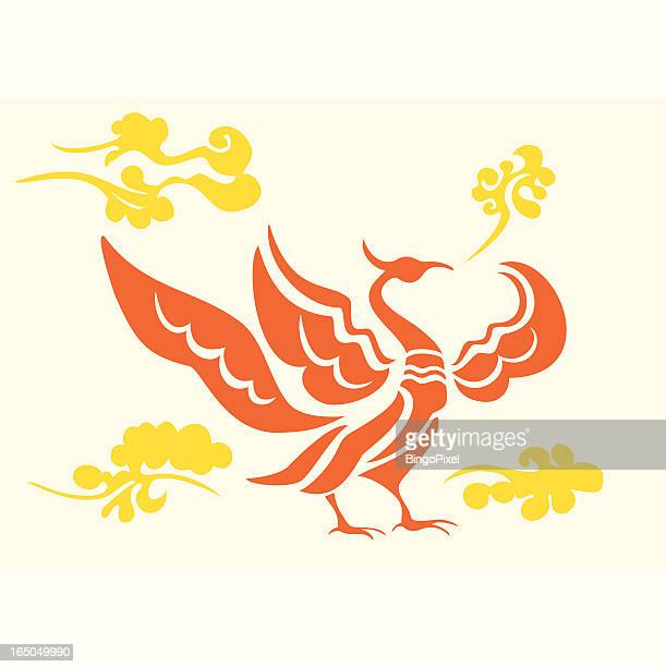 phoenix set 003 (cloud) - phoenix mythical bird stock illustrations, clip art, cartoons, & icons