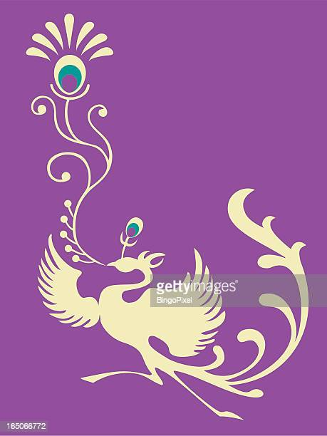 phoenix set 003 (peacock feather) - phoenix mythical bird stock illustrations, clip art, cartoons, & icons