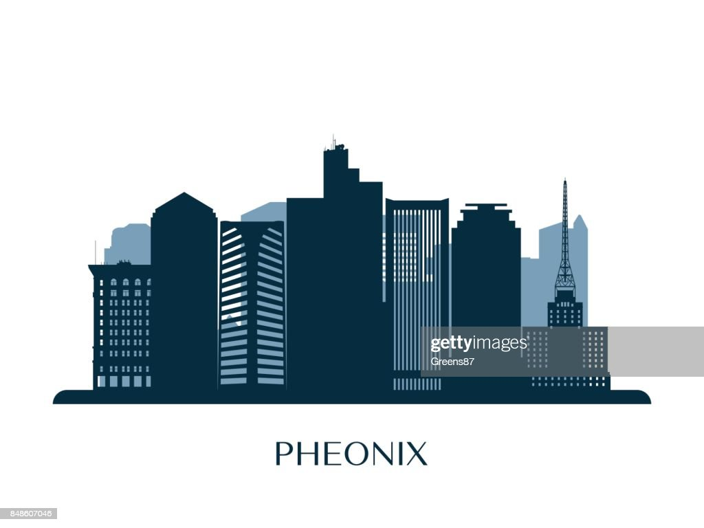 Phoenix skyline, monochrome silhouette. Vector illustration.