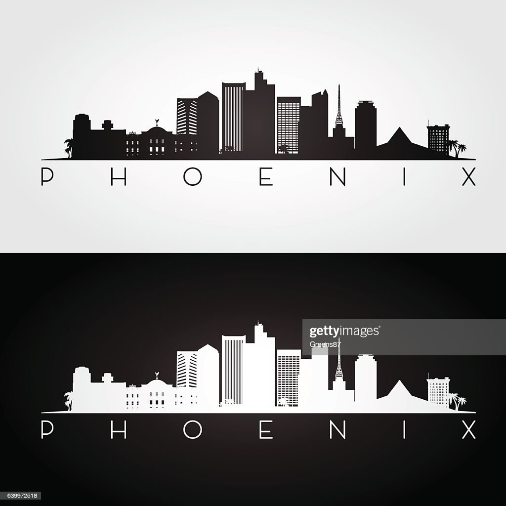 Phoenix USA skyline and landmarks silhouette