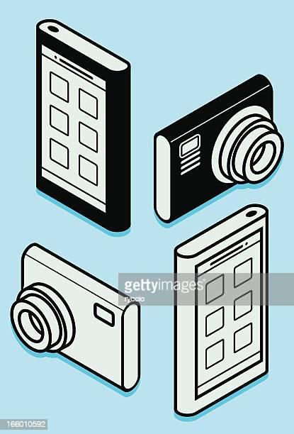 phone and camera vector shapes