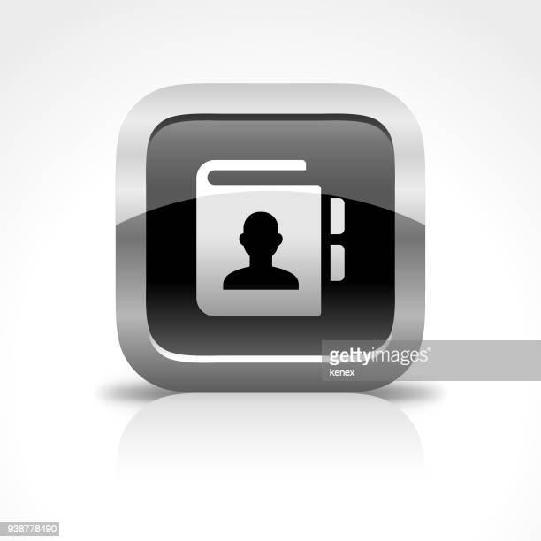 ilustrações, clipart, desenhos animados e ícones de ícone de botão brilhante de comunicação telefônica - registro livro