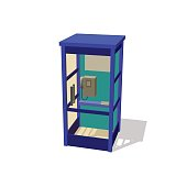 Phone booth. Isolated on white background. Vector illustration.