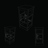 Phone booth set. Isolated on black background. Vector outline illustration.
