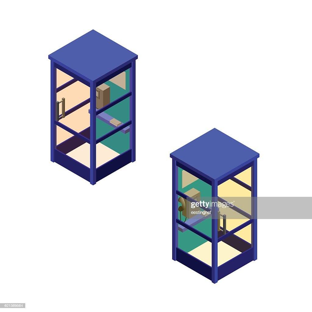 Phone booth set. Vector illustration.Isometric style.