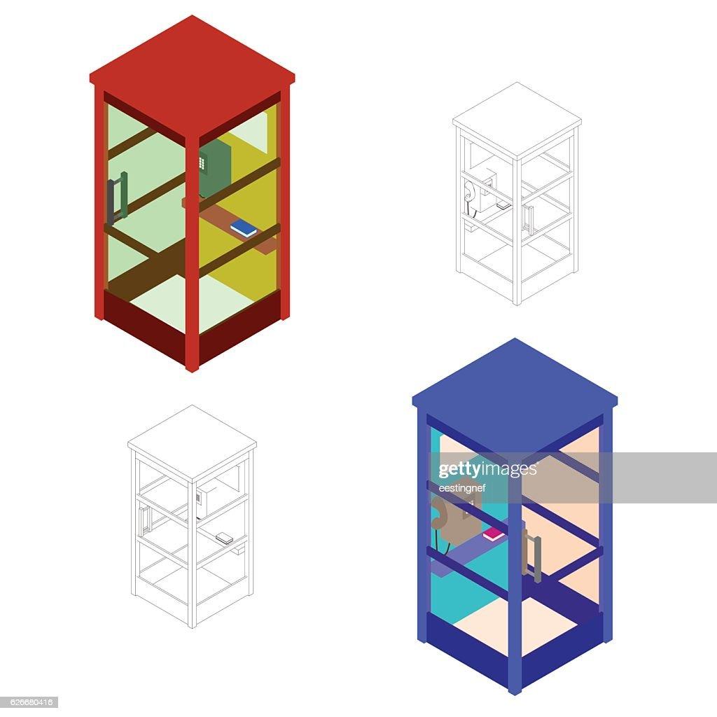 Phone booth set. Vector illustration.Isometric.Flat style.