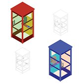 Phone booth set. Vector illustration.Isometric.Flat style.