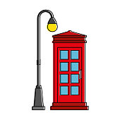 phone booth with park lantern