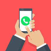 Phone call button on smartphone screen vector illustration. Answer the call. Hand holding smartphone, finger touching screen. Modern concept for web banners, web sites, infographics. Flat design