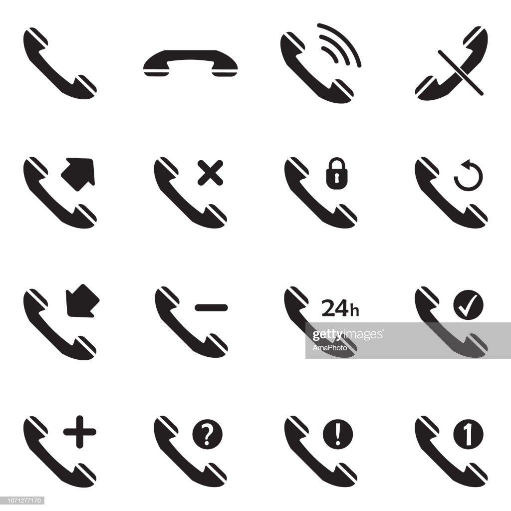 Phone Call Icons. Black Flat Design. Vector Illustration.