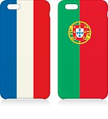 Phone covers set with flags of France and Portugal