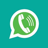 Phone handset in speech bubble. Messenger icon isolated on background. Vector illustration.