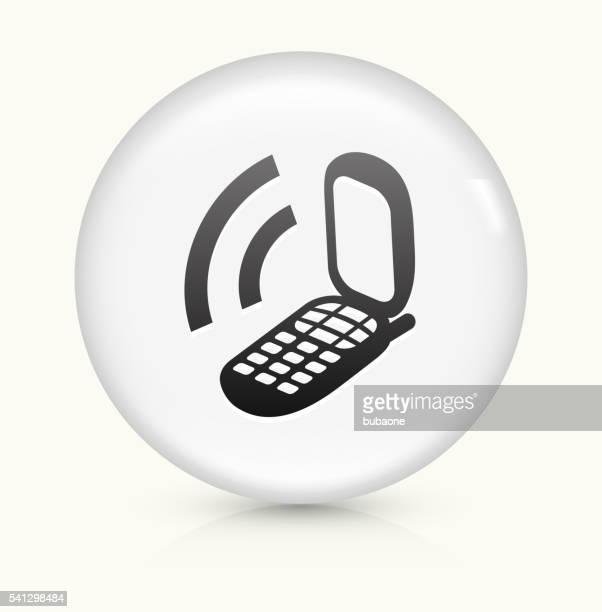 Phone icon on white round vector button