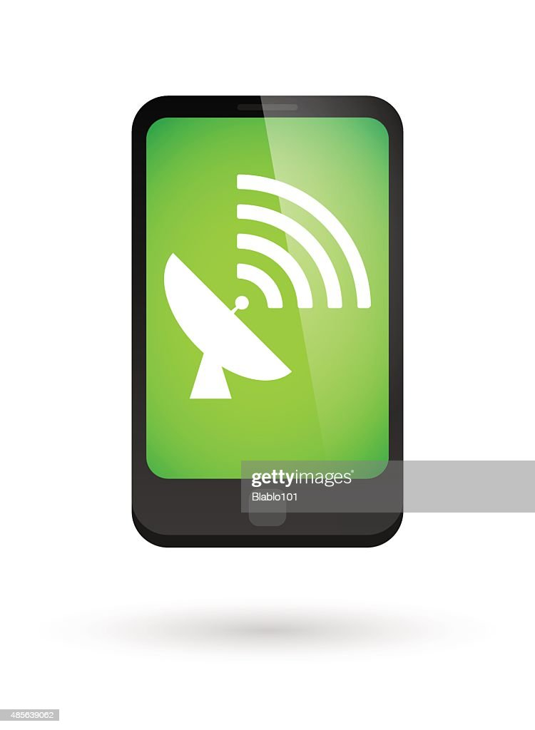 Phone icon with a satellite antenna