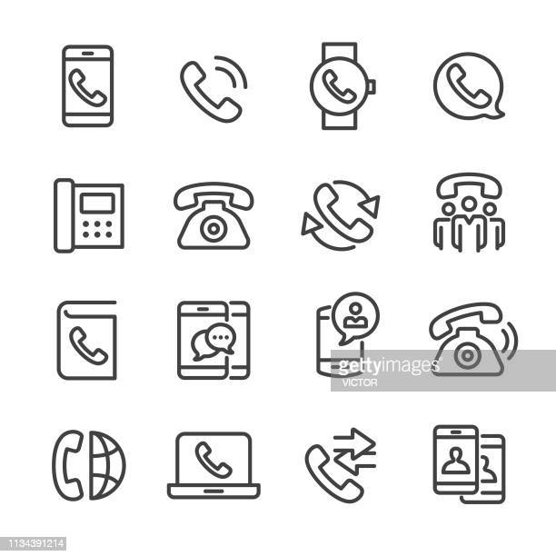 phone icons - line series - inbox filing tray stock illustrations
