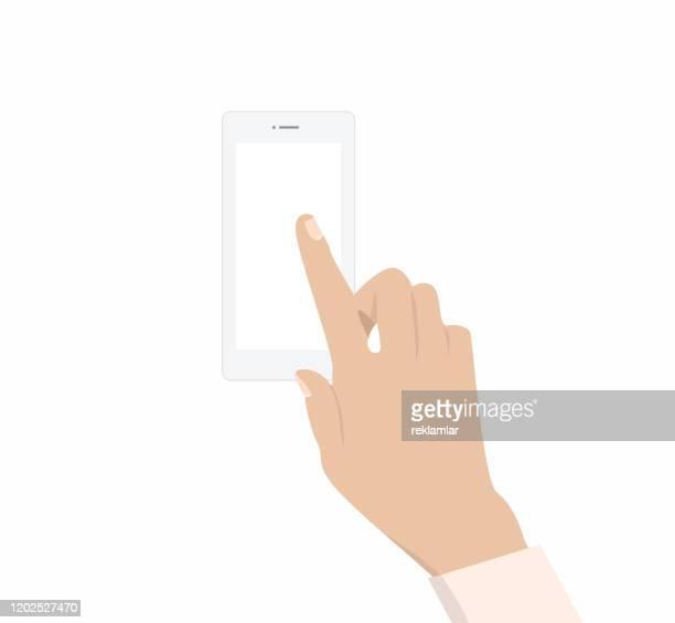 ilustrações, clipart, desenhos animados e ícones de telefone na mão feminina, tela em branco. - mobile phone