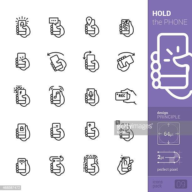 phone interaction vector icons - pro pack - turning stock illustrations