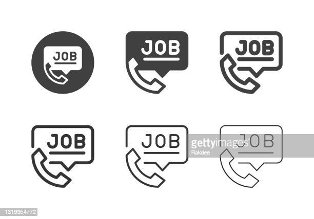phone job interview icons - multi series - holding up sign stock illustrations