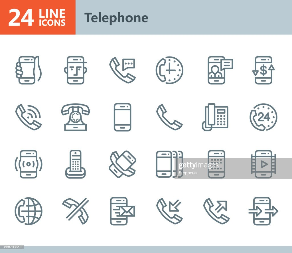 Phone - line vector icons : stock illustration