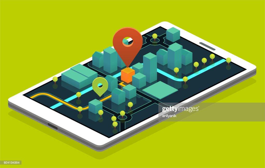 phone navigation : stock illustration