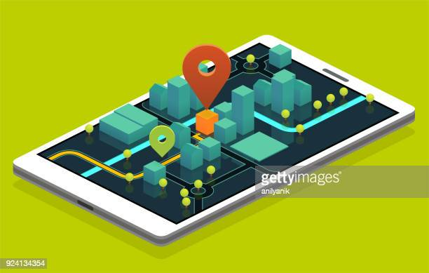 phone navigation - famous place stock illustrations