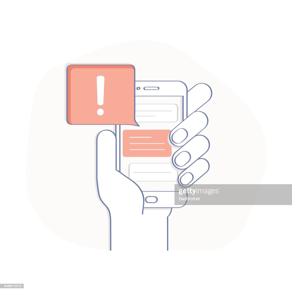 Phone Notification, Alert, New Message Received - Isolated Vector Illustration