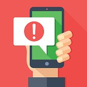 Phone notifications, new message received concepts. Hand holding smartphone with speech bubble and exclamation point icon. Modern flat design vector illustration