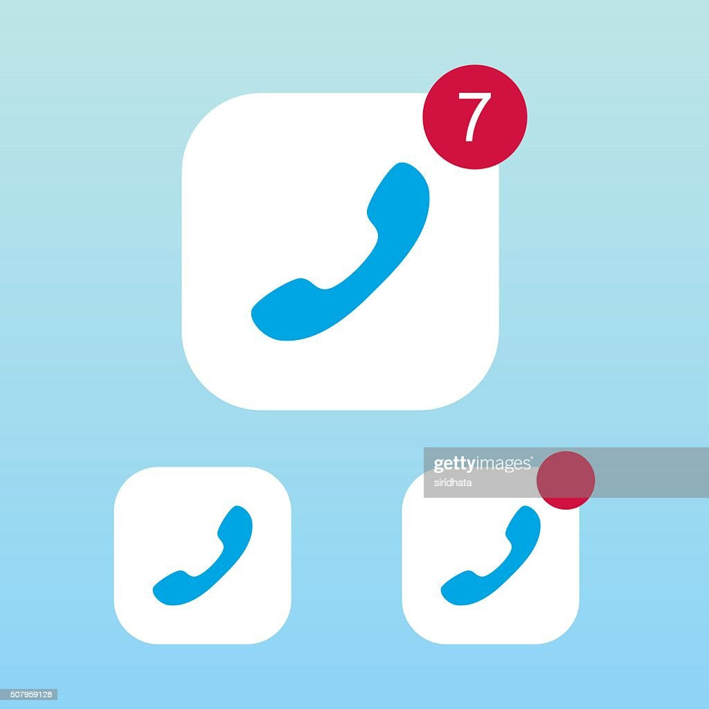 Phone or Call Icon With Notification