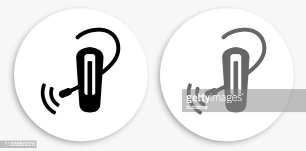 Phone Piece Black and White Round Icon