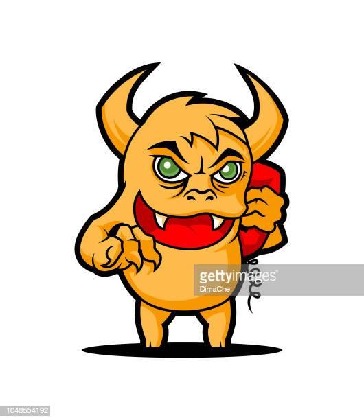 ilustrações de stock, clip art, desenhos animados e ícones de phone prank troll with handset cartoon monster character - cyberbullying