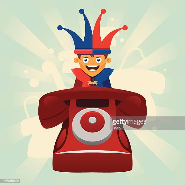 phone prank with jester - jester's hat stock illustrations, clip art, cartoons, & icons