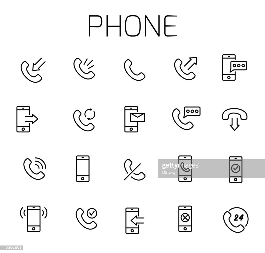 Phone related vector icon set.