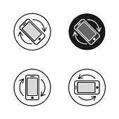Phone rotate symbols set. Smartphone rotation icon