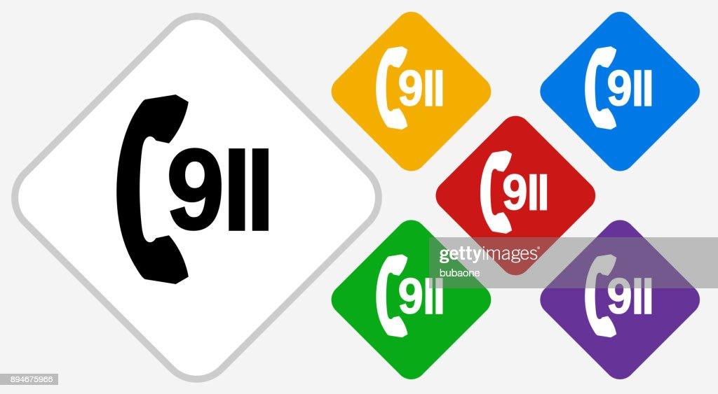 911 Phone Service Color Diamond Vector Icon