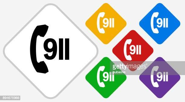 ilustrações, clipart, desenhos animados e ícones de ícone de vetor do telefone 911 serviço cor diamante - serviço de emergência e resgate