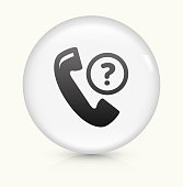Phone support icon on white round vector button